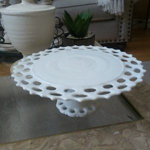 VINTAGE FARMHOUSE Milk GLASS CAKE Stand RISER